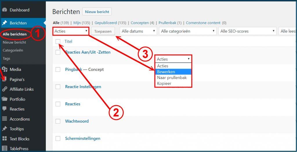 WordPress Berichten in bulk bewerken