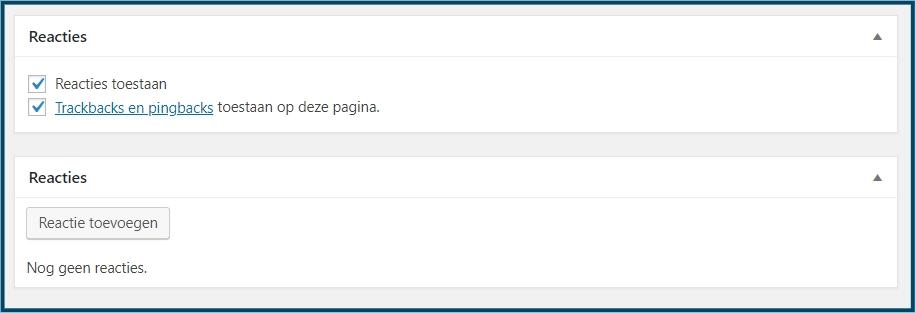 WordPress Bericht Reactie Vak