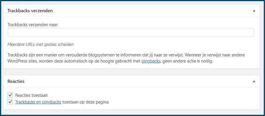 WordPress Trackback per bericht uitzetten