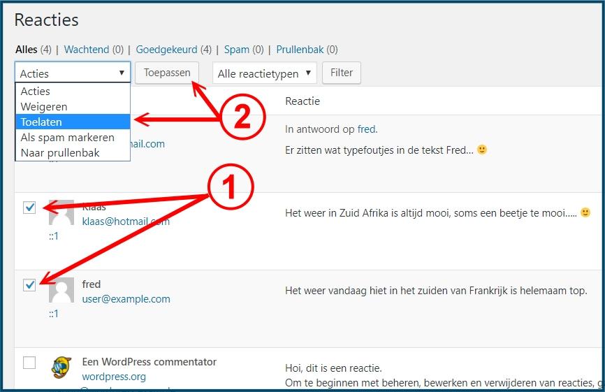 WordPress Reacties Bulk Acties