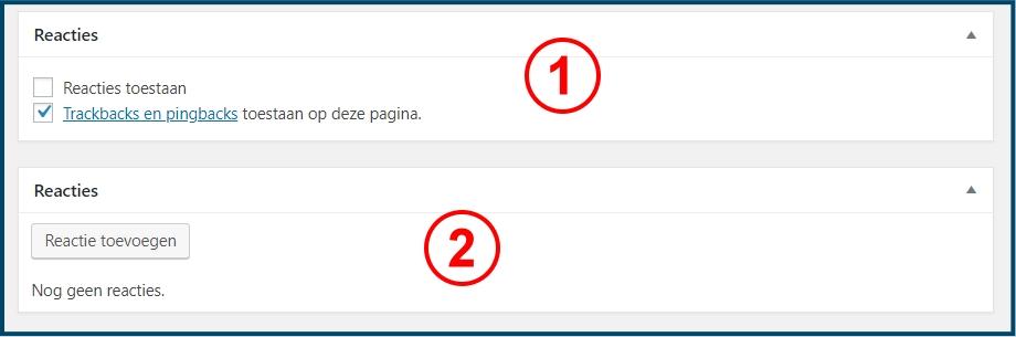 WordPress Pagina Reactie Vakken