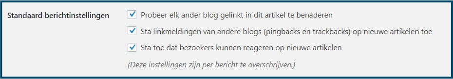 WordPress Standaard berichtinstellingen