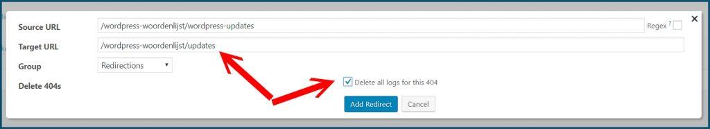 WordPress 404 redirect aanpassen