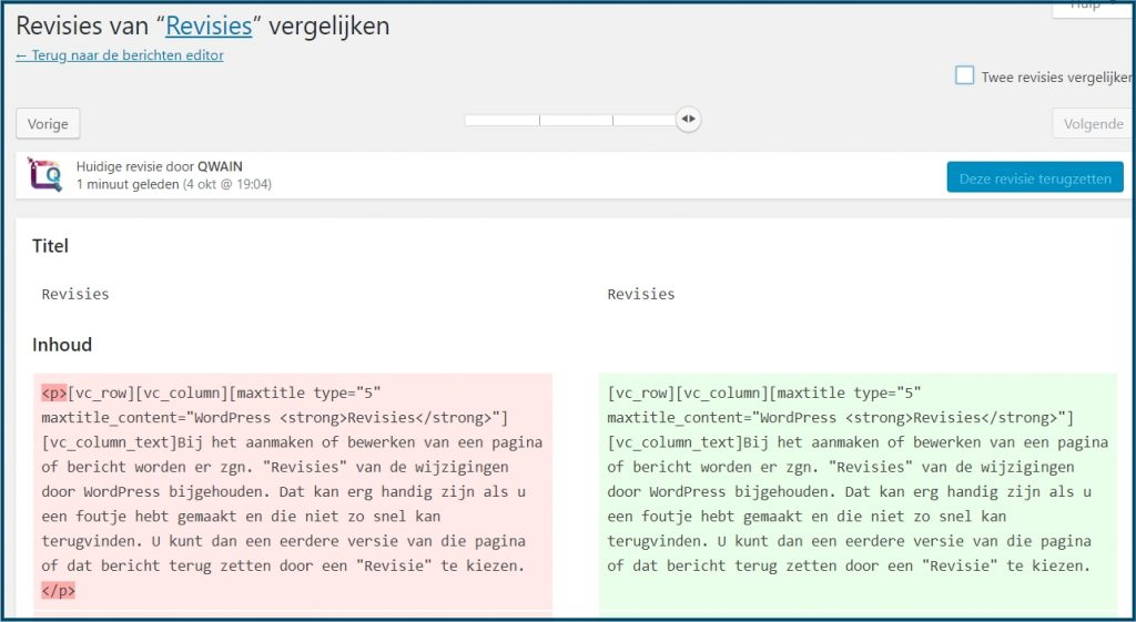 WordPress door revisies bladeren