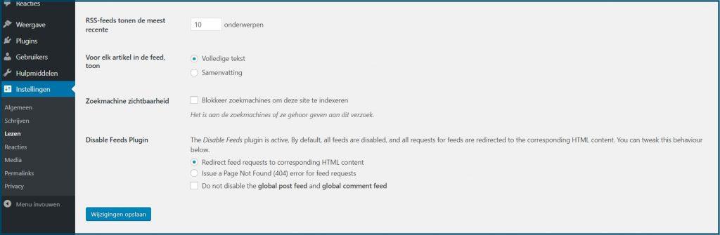 WordPress RSS Feed Extra Instellingen