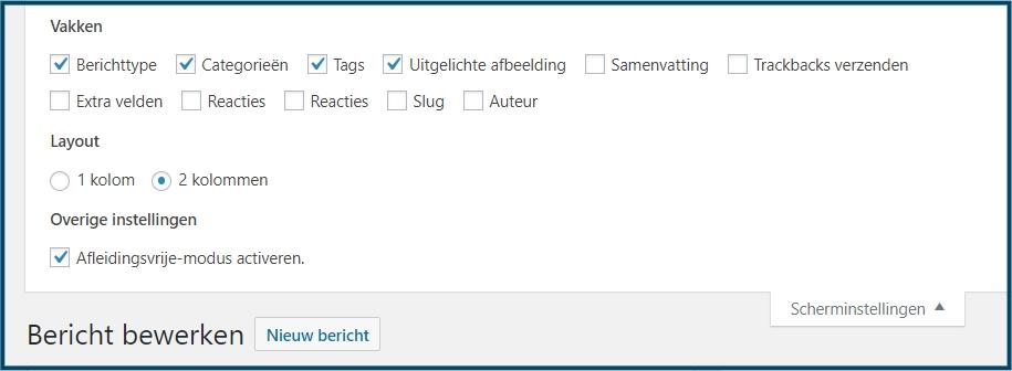 WordPress scherminstellingen bij bericht