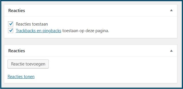 WordPress scherminstellingen reacties reacties
