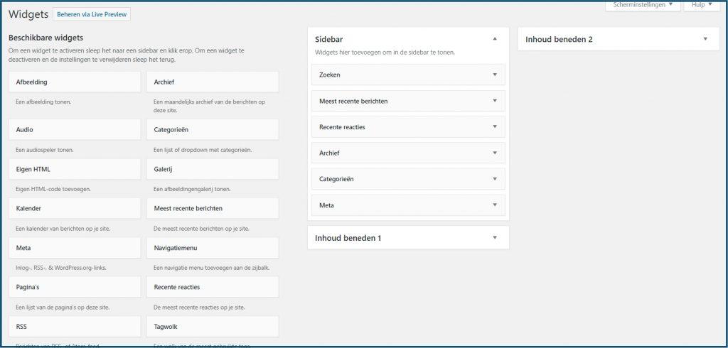 WordPress beschikbare sidebars