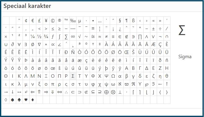 WordPress speciale characters gebruiken