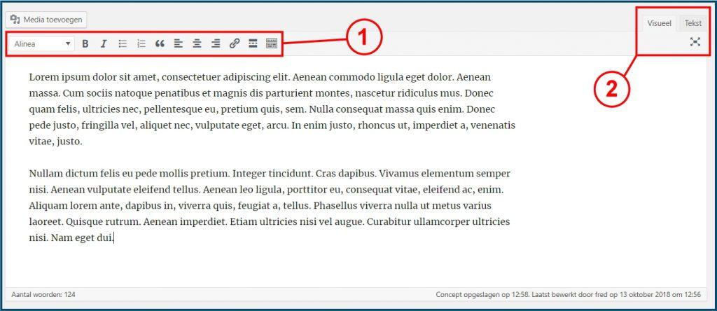 standaard WordPress tekst editor tinymce