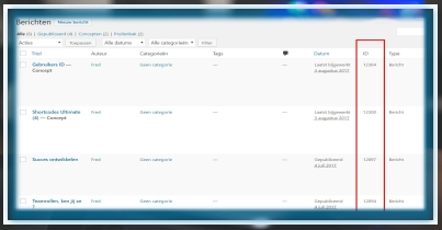 WordPress Scherminstellingen ID tonen