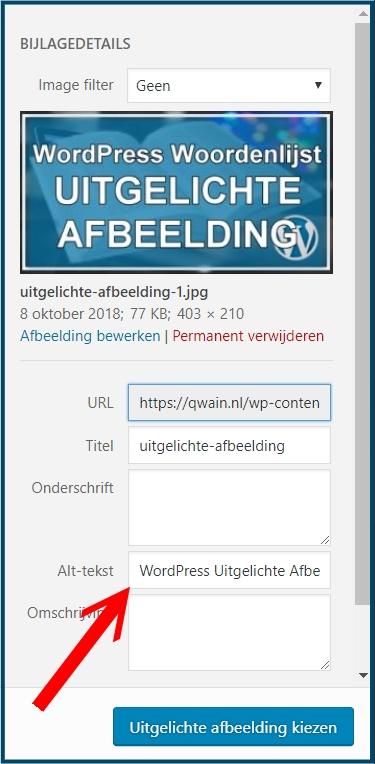 WordPress Uitgelichte afbeelding Alt-tekst
