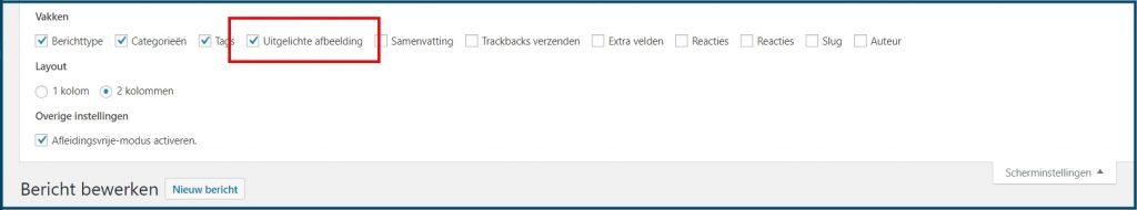 WordPress uitgelichte afbeelding scherminstellingen