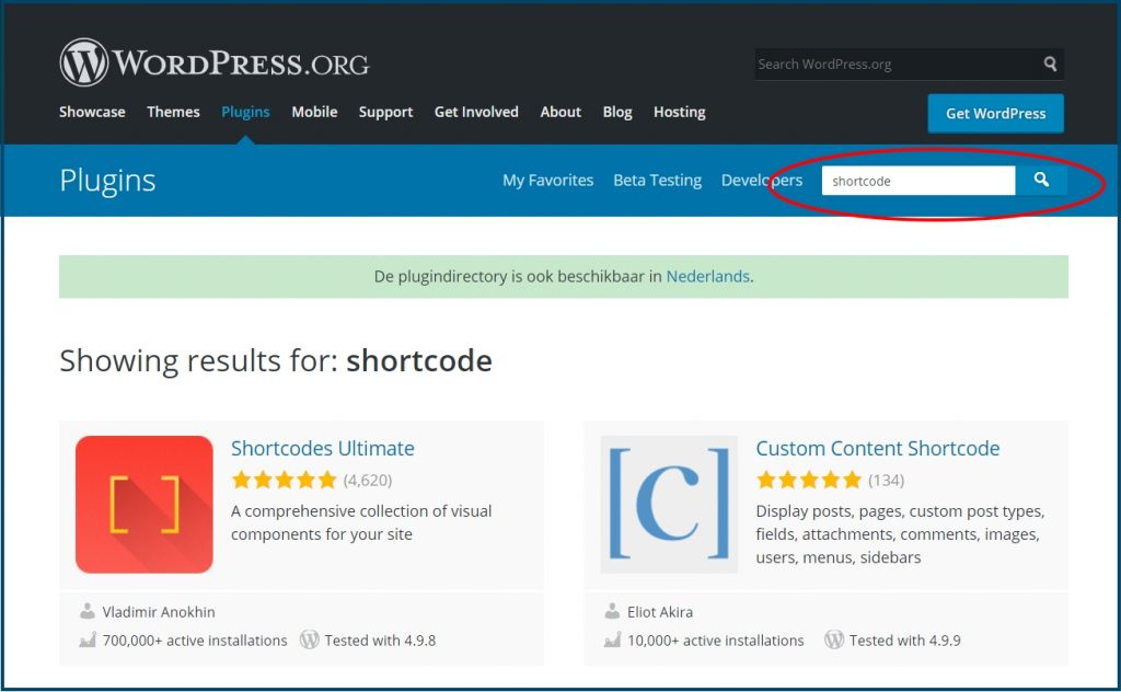 WordPress Shortcode Plugins zoeken