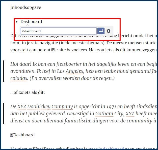 WordPress Anker Link Invoegen