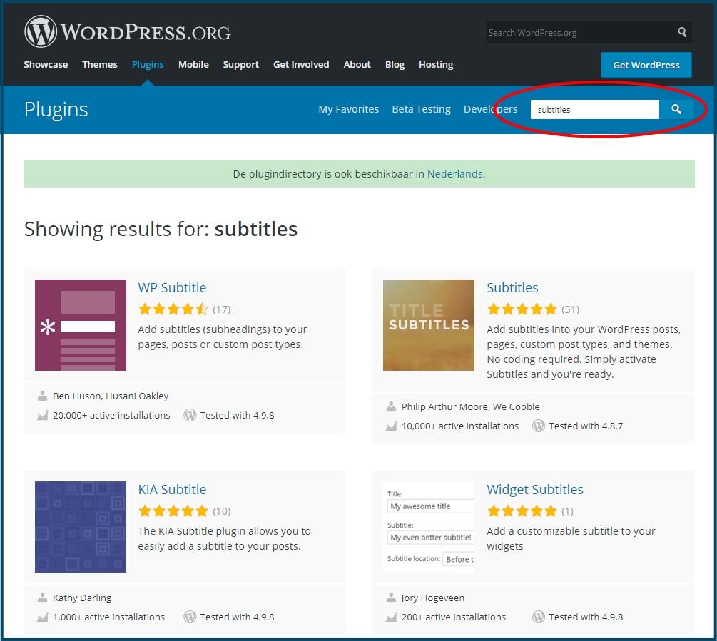 WordPress berichten ondertitel plugins