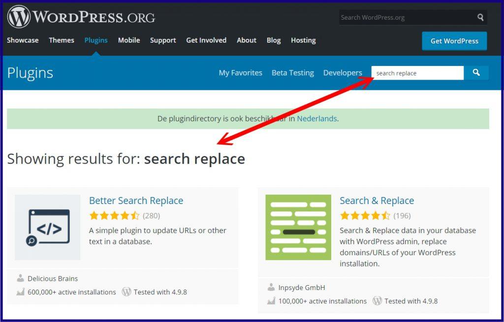 WordPress zoek en vervang