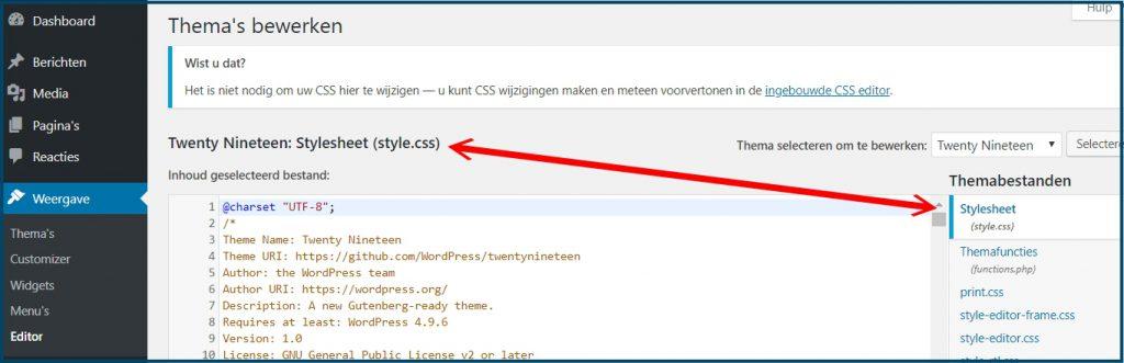 WordPress CSS Aanpassen