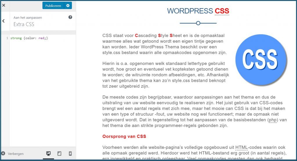 WordPress Customizer Extra CSS
