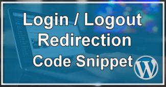 Login / Logout Code Snippet