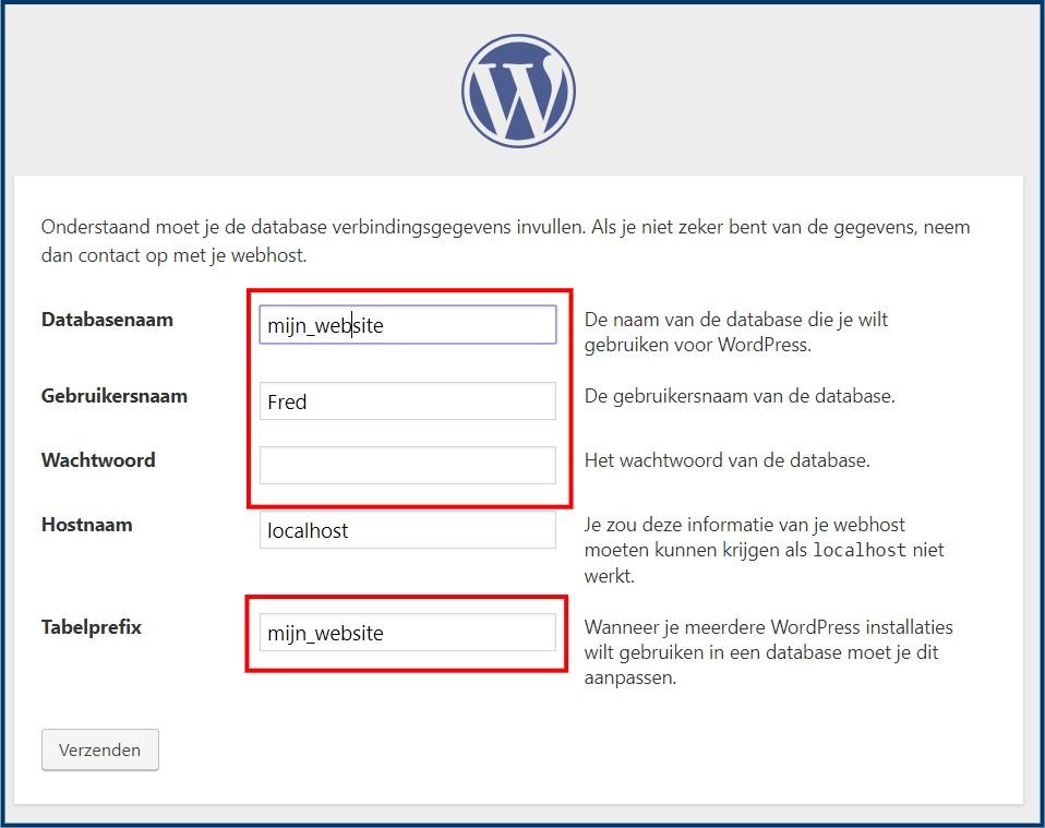 WordPress database gegevens opgeven