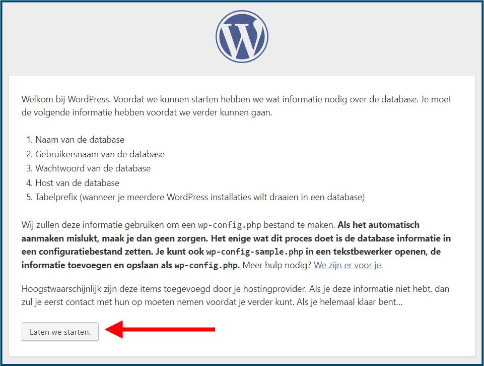 WordPress Installatie Starten