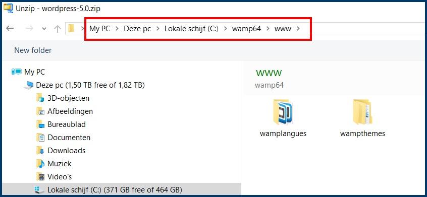 WordPress in WampServer plaatsen
