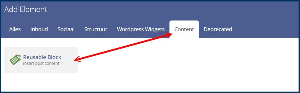 WPBakery Contentblok Invoegen