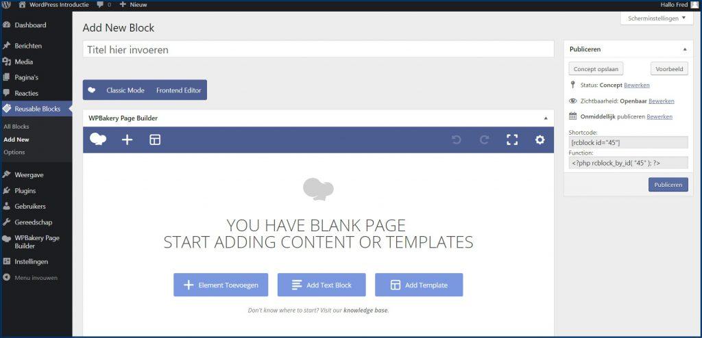 WPBakery Contentblok Maken