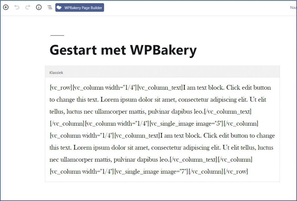 Visual Composer Pagina Bewerken met Gutenberg