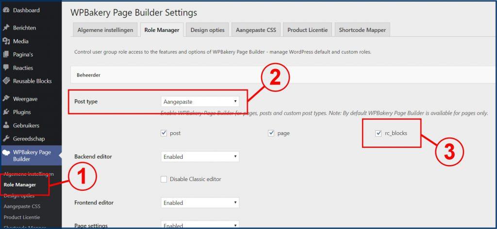WPBakery Post Type Instellingen