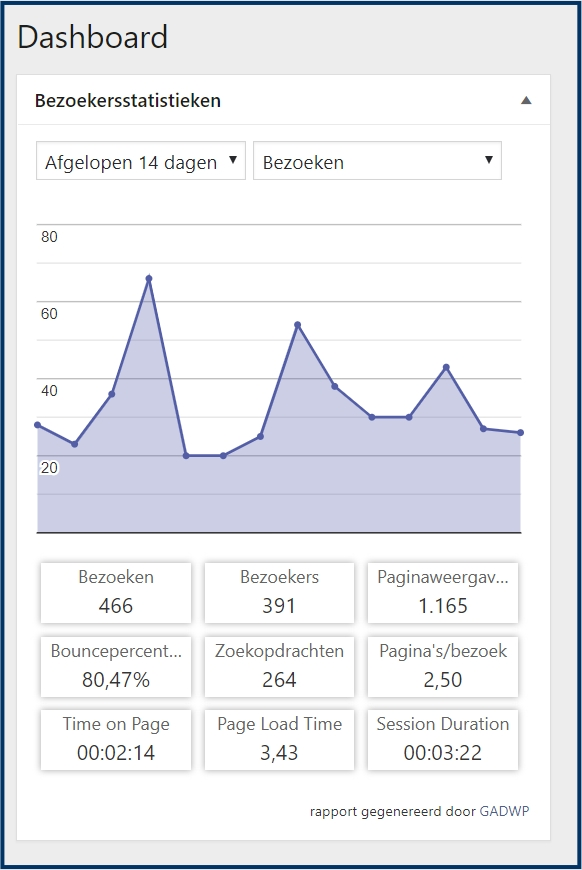 Google Analytics WordPress Dashboard Widget