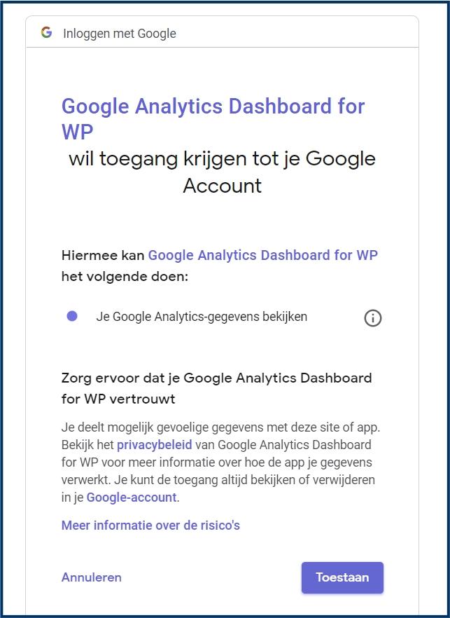Google Analytics Controle Scherm