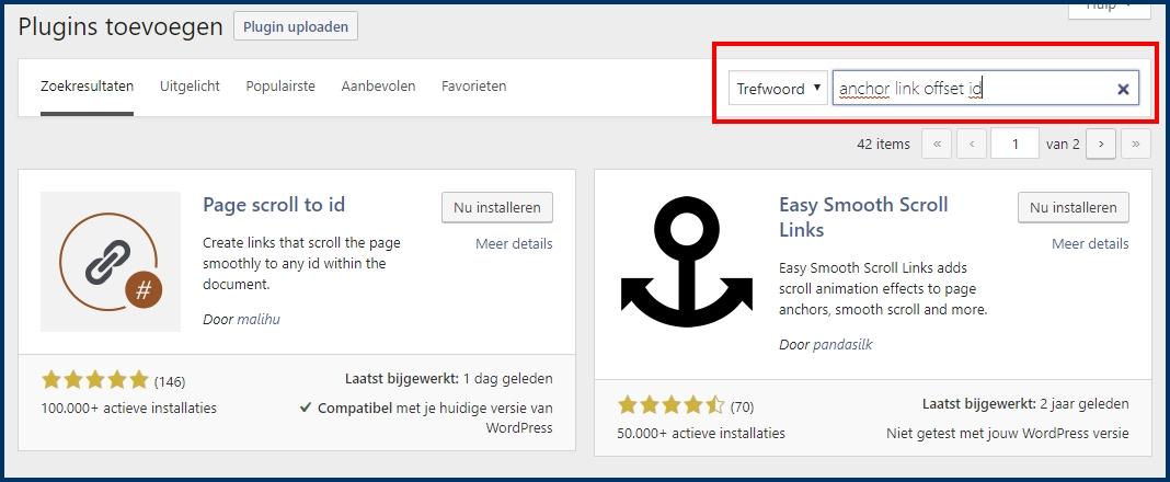 WordPress Anker Link Instellingen