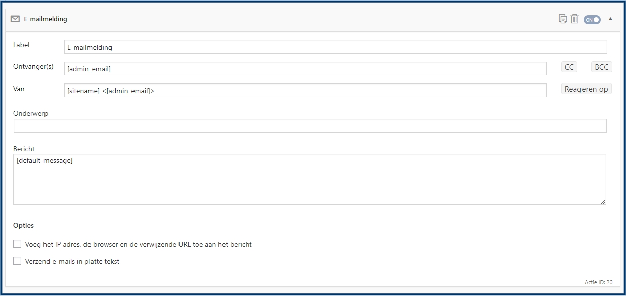 Formidable E-mail Instellingen