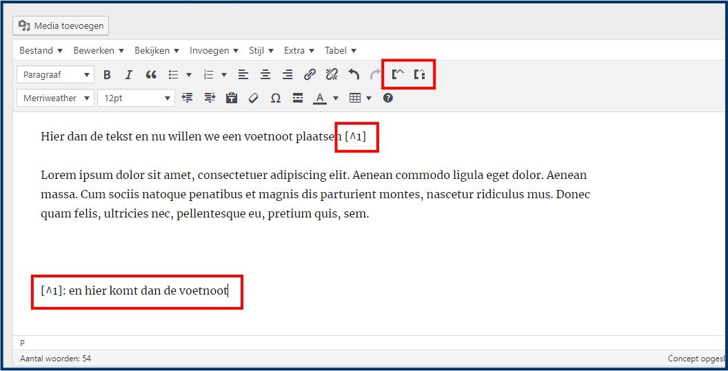 WordPress Markdown Voetnoot