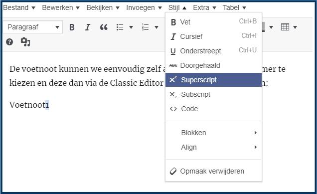 WordPress tekst superscript