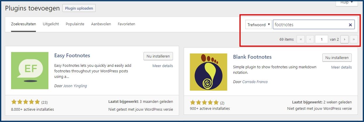 WordPress Voetnoot Plugins