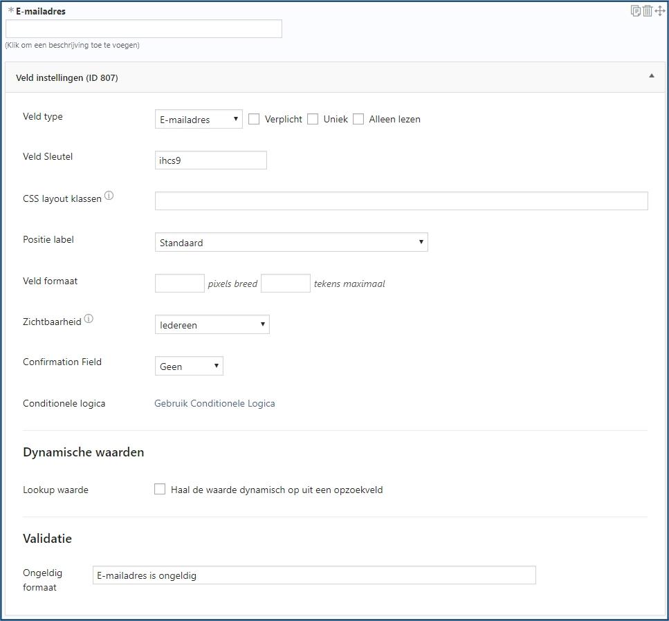 E-mailadres - Standaard Veld Instellingen