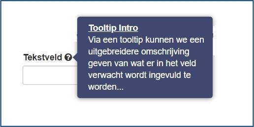 Formuliervelden tooltip