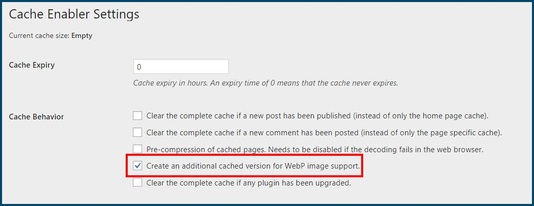 Cache WebP Support