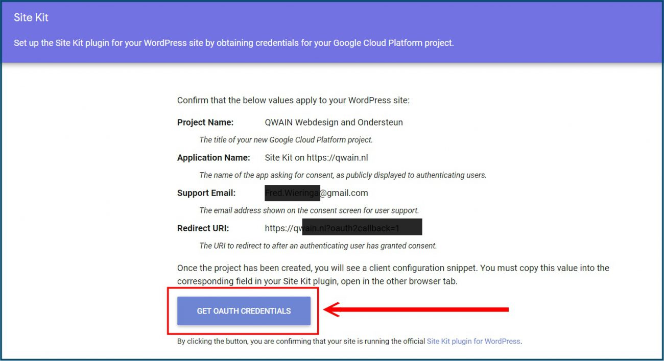 Google Site Kit API