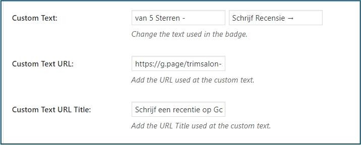 WordPress Recensies Eigen Tekst en Link