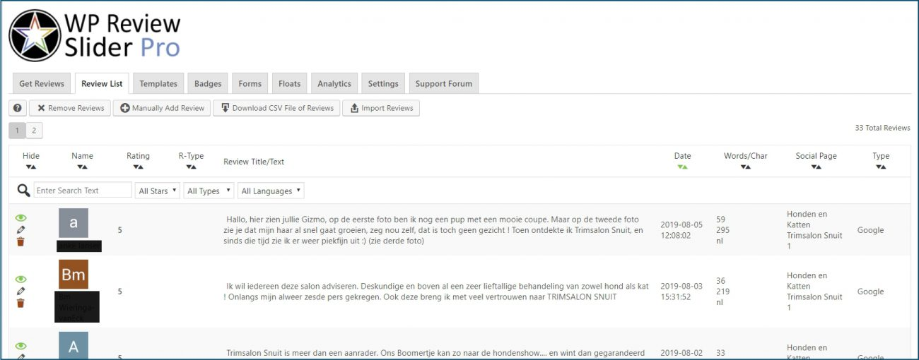 WordPress Recensies bewerken