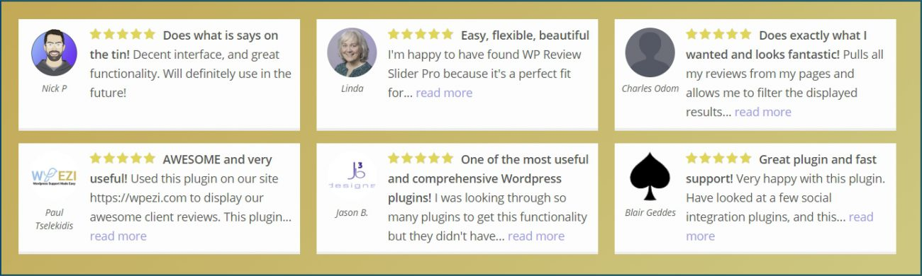 WordPress Recensies Raster Layout