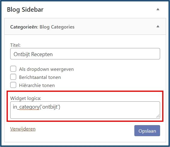 Plugin Widget Logic Voorbeeld Instellingen