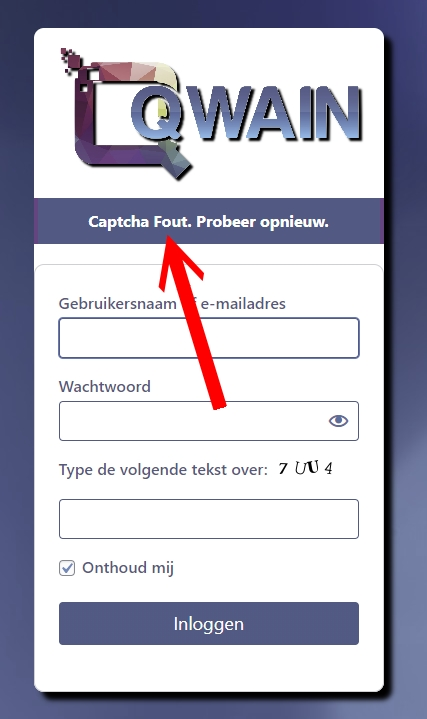 Login Captcha Foutmelding
