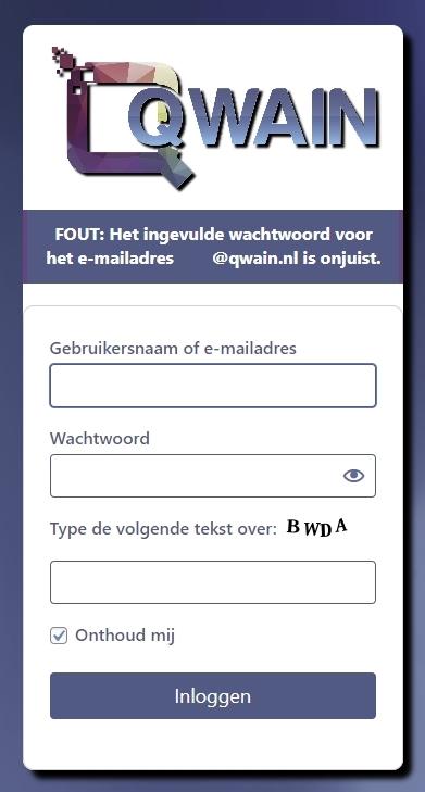verkeerde wachtwoord
